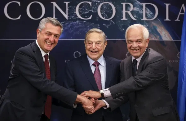 United Nations High Commissioner for Refugees Filippo Grandi, magnate George Soros and Canada's Minister of Immigration, Refugees and Citizenship John McCallum attend the 2016 Concordia Summit to incubate the